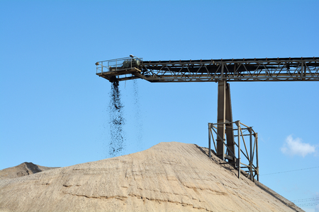 aggregates: quarrying of sand and gravel in a gravel pit Stock Photo