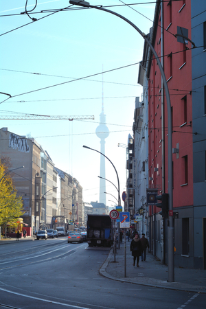 rushed: BERLIN, GERMANY - OCTOBER 28, 2014: street with inhabitants and tourists in Berlin Editorial
