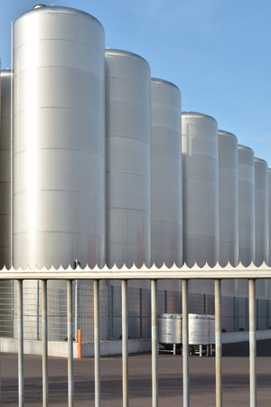 company premises: stainless steel tank in the beverage industry Stock Photo