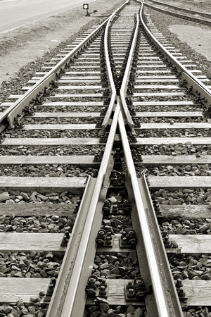 black and white railroad tracks: black and white image of railroad tracks in the port of Magdeburg Stock Photo