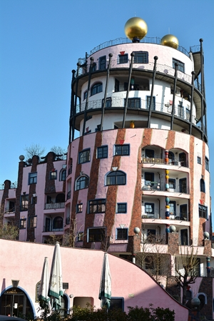 uniquely: MAGDEBURG, GERMANY - MARCH 18, 2015: the Hundertwasser House in Magdeburg, is one of the most famous landmarks in the city Editorial