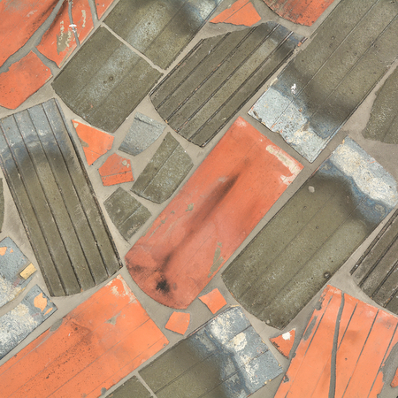 abstractly: the facade of a house in Magdeburg is made from old roof tiles