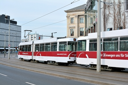 tramline: BRAUNSCHWEIG, GERMANY - APRIL 11, 2015: Tram in downtown Braunschweig