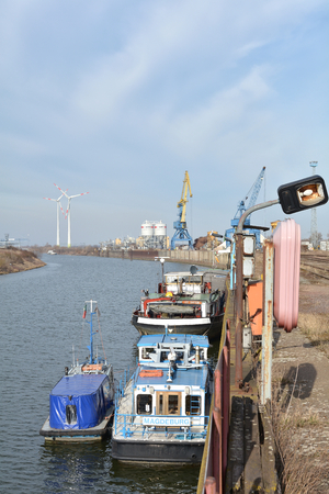 reloading: Magdeburg Germany MARCH 7 2015: Ships in the harbor of Magdeburg