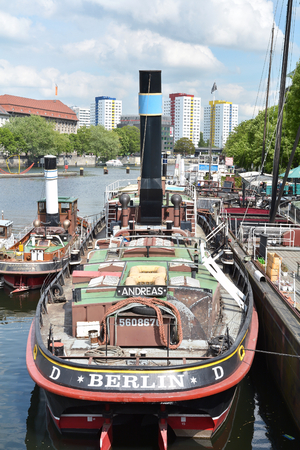 inland waterways: Berlin Germany 19 May 2015: Ships in the harbor at the Fischerinsel in Berlin Editorial