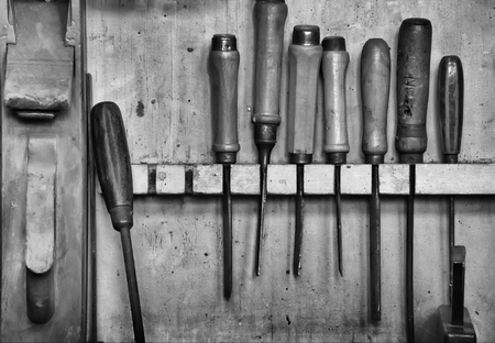 tinkering: old tools in the workshop of a carpenter Stock Photo