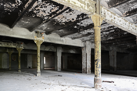 Interior of an abandoned disused brewery in Magdeburg