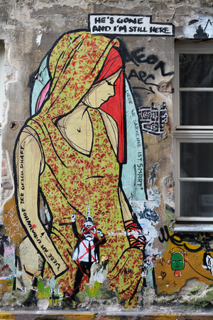 impermanent: BERLIN, GERMANY - MAY 19, 2015: Street art on a wall in the city center of Berlin