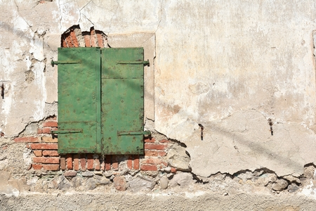 window shutter on an old house in Slovenia
