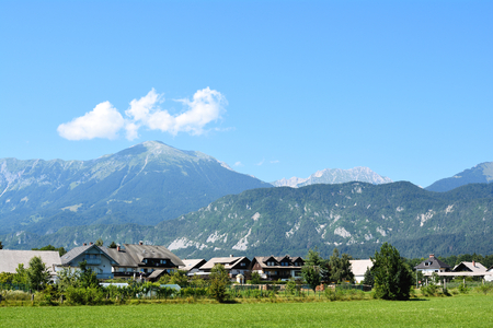 rockclimbing: Alpine landscape on the edge of Lesce in Slovenia Stock Photo