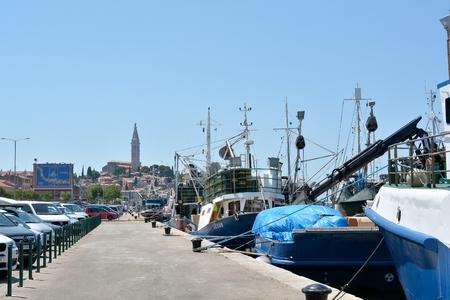 fishing fleet: Rovinj, Croatia - July 14, 2015: Fishing boats on the Adriatic coast in the port of Rovinj