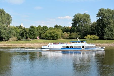 excursion: Magdeburg, Germany - August 1, 2015: Excursion boat on the Elbe near Magdeburg Editorial