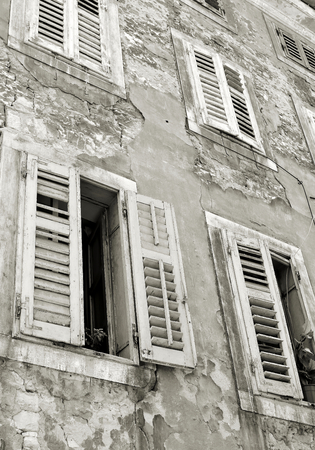 Facade of a residential building in the old town of Pula in Croatia