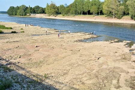 riverbed: Magdeburg, Germany - August 1, 2015: dry riverbed of the river Elbe near Magdeburg Editorial