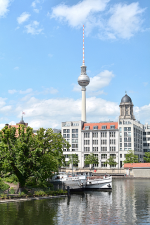 inland waterways: BERLIN, GERMANY - MAY 19, 2015: view from Fischerinsel in Berlin on the TV Tower