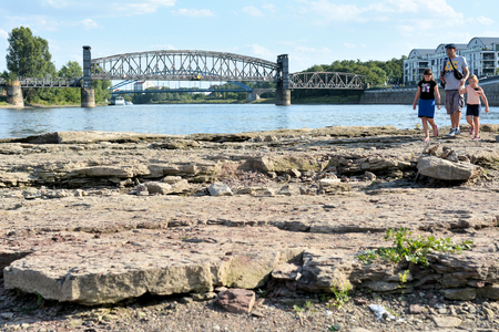 riverbed: Magdeburg, Germany - August 1, 2015: in the dry riverbed Domfelsen of the Elbe near Magdeburg