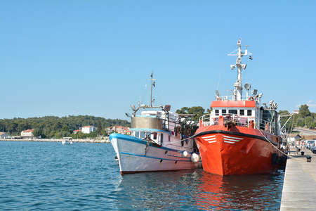 Fishing boats in the port of Rovinj in Croatia