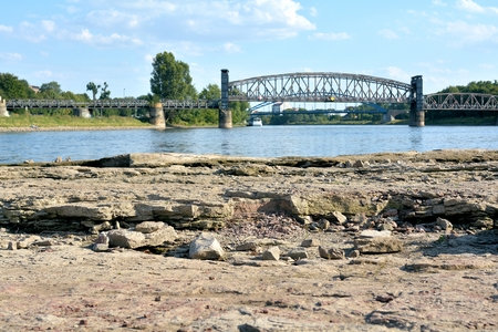 riverbed: Domfelsen in the dry riverbed of the Elbe near Magdeburg