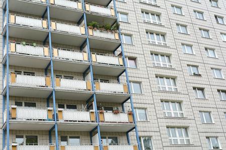 prefab: Facade of a house in the Karl-Marx -Allee in Berlin