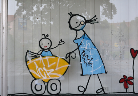 daubed: Graffiti on a shop window in Potsdam