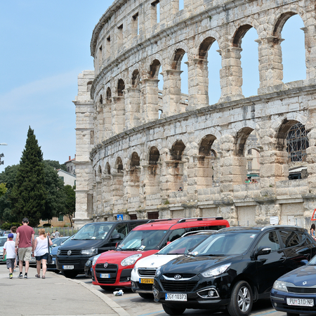 sightseers: CROATIA - JULY 13, 2015: the Arena of Pula, The Landmark of the city Editorial