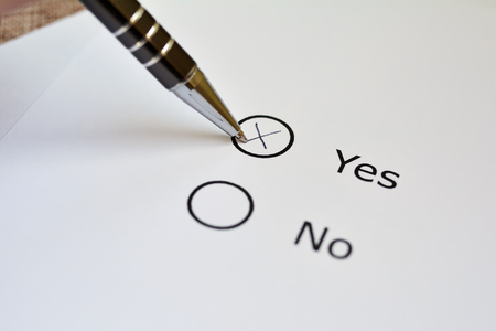 plebiscite: Vote on yes or no on a ballot Stock Photo
