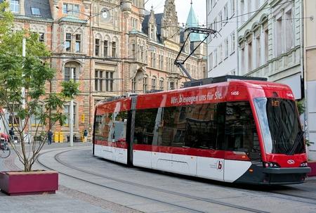 Braunschweig, Germany - August 25, 2015: Tram in downtown Braunschweig