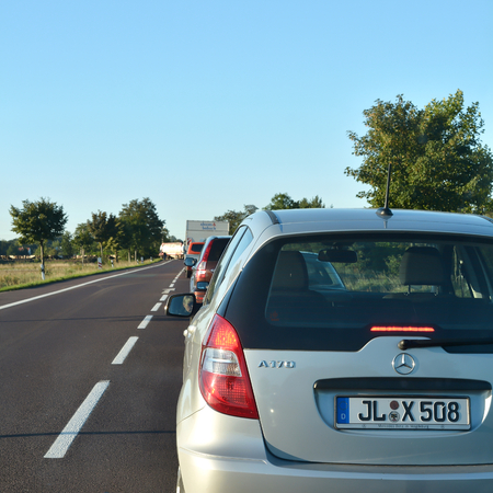 september 9th: Gerwisch, GERMANY - September 9th, 2015: Cars in a traffic jam on a country road