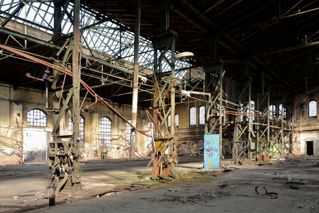 industrial wasteland: Interior of a disused abandoned factory