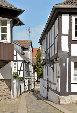 renovate old building facade: Historic half-timbered houses in the old town of Braunschweig