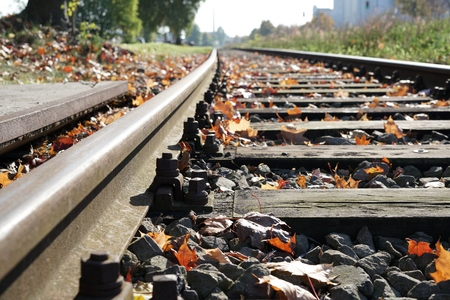 dangerously: Railroad Tracks at the port of Magdeburg of Stock Photo