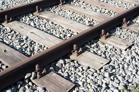 railroad tracks: Railroad Tracks at the port of Magdeburg of Stock Photo