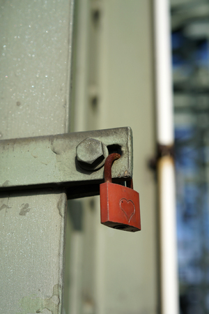 inseparable: padlock from to amorous couple on the Hohenzollern Bridge in Cologne Stock Photo