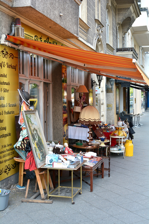 product range: BERLIN, GERMANY - MAY 21, 2015: second-hand shop in the center of Berlin Editorial