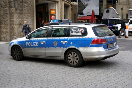 delinquency: COLOGNE, GERMANY - OCTOBER 21, 2015: Police Car in the center of Cologne