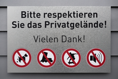 private property: Prohibition sign on a private property