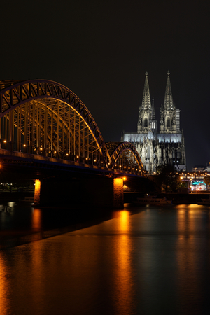 fluent: View of the city of Cologne at night Stock Photo