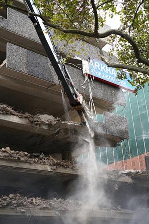 elimination: COLOGNE, GERMANY - OCTOBER 22, 2015: Demolition of the parking garage on the Schildergasse in Cologne