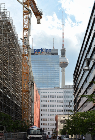 megacity: BERLIN, GERMANY - MAY 19, 2015: Construction site near the television tower in the center of Berlin Editorial