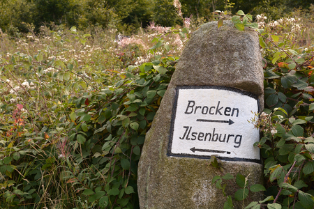 labelled: signpost on a hiking trail in the Harz National Park