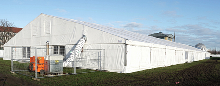 provisional: Magdeburg, Germany - November 27, 2015: provisional refugee shelter in a tent in Magdeburg