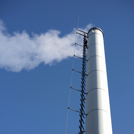 boiler house: smoking chimney at a boiler house