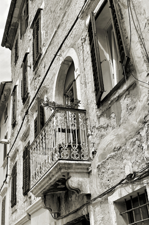 renovate old building facade: old house in the historic center of Pula in Croatia