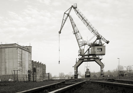 building sector: Historical crane in the port of Magdeburg