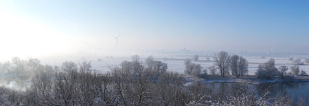 wintry weather: View of the Elbe River and the industrial area Rothensee near Magdeburg