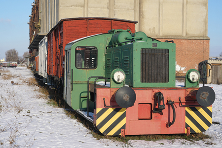 motorcoach: old locomotive on the siding at the port of Magdeburg Stock Photo
