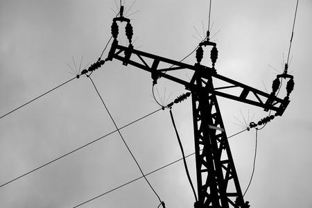 mortal danger: Electricity pylon in a field in the countryside
