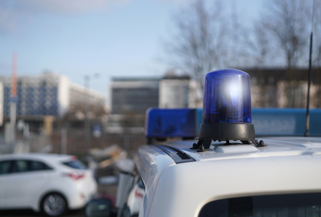 heist: police car in the center of Magdeburg Stock Photo