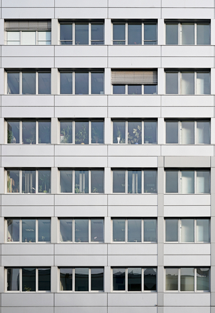 window shade: office building in downtown Magdeburg