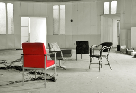 company premises: chairs in a torn in the mean time Club on the outskirts of Magdeburg